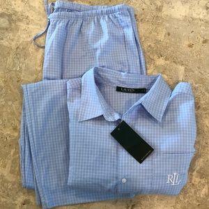 NWT Ralph Lauren Monogramed  Pattern Pajama Set L